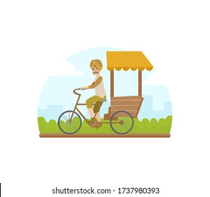 Asian Tricycle Rickshaw Cab, Traditional Indian Taxi Vector Illustration