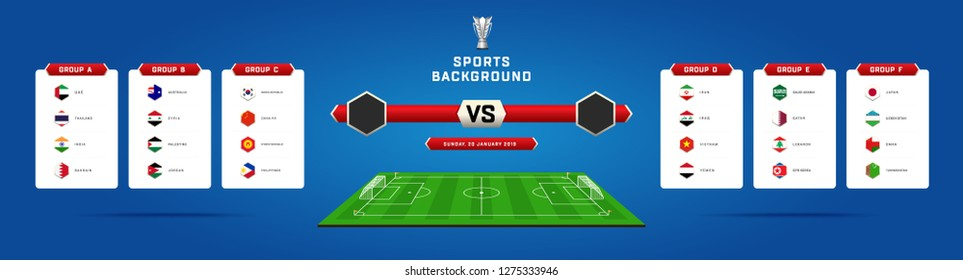Asian UAE 2019 championship tournament Vector illustration results and standing tables scoreboard, Football Match schedule, flags of countries, Football field, sports background with Trophy
