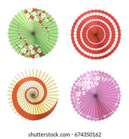 Asian umbrellas isolated on white background. Vector chinese canopy or japanese washi paper and bamboo umbrella wagasa