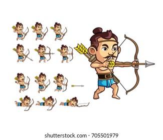 Asian Warrior Archer Game Sprite
