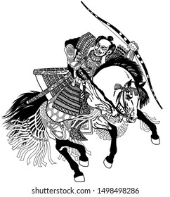 Asian warrior archer. Japanese Samurai horseman sitting on horseback, wearing medieval leather armor and holding a bow. Medieval East Asia soldier riding pony horse in the gallop. Vector illustration