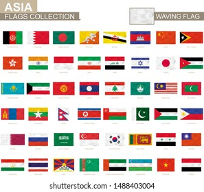 Asian waving flag collection. Vector illustration.