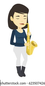 Asian woman with eyes closed playing on saxophone. Pleased musician playing on saxophone. Musician with saxophone. Vector flat design illustration isolated on white background.