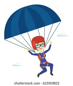 Asian woman flying with a parachute. Young happy woman paragliding on a parachute. Parachutist descending with a parachute in the sky. Vector flat design illustration isolated on white background.