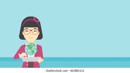 An asian woman holding a tablet computer with a model of planet earth above the device. International technology communication concept. Vector flat design illustration. Horizontal layout.