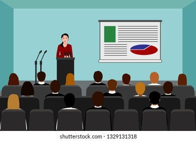 Asian woman holds business presentation in conference room. Vector illustration.
