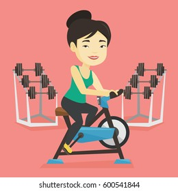 Asian woman riding stationary bicycle in the gym. Woman exercising on stationary training bicycle. Young smiling woman training on exercise bicycle. Vector flat design illustration. Square layout.