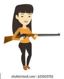 Asian woman shooting skeet with shotgun. Hunter ready to hunt with hunting rifle. Woman aiming with hunter gun. Hunter holding long rifle. Vector flat design illustration isolated on white background.