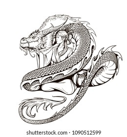 Asian woman in traditional dress and Chinese dragon illustration