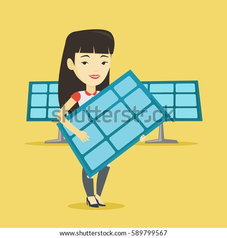 young woman with panel in hands standing on the background of solar power  plant  vector flat design illustration  square layout