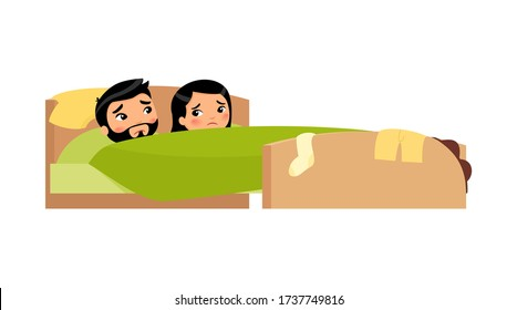 Asian young couple in bed. Clothes are scattered. Upset man and woman. Unhappy married couple. Sexual problems concept . Colorful vector illustration in flat cartoon style.