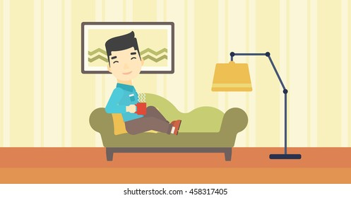 An asian young man lying on sofa in living room and holding a cup of hot flavored tea. Vector flat design illustration. Horizontal layout.