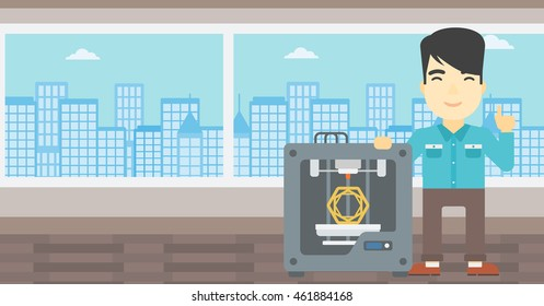 An asian young man standing near three D printer and pointing forefinger up. Engineer using 3D printer. Man working with 3D printer. Vector flat design illustration. Horizontal layout.