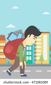 An asian young man walking with backpack full of different devices. Man walking with many devices in the city. Man with many electronic devices. Vector flat design illustration. Vertical layout.