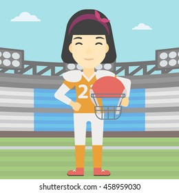 An asian young professional rugby player holding ball and helmet in hands. Female rugby player in uniform standing on rugby stadium. Vector flat design illustration. Square layout.