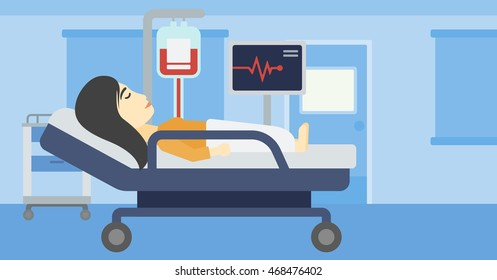 An asian young woman lying in bed at hospital ward. Patient with heart rate monitor and equipment for blood transfusion in medical room. Vector flat design illustration. Horizontal layout.