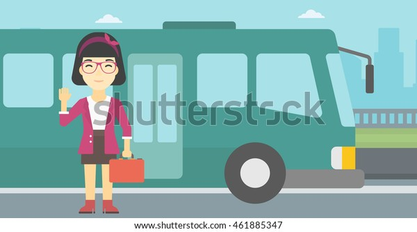 An asian young woman with suitcase standing at the entrance door of a bus on a city background. Young woman waving in front of a bus. Vector flat design illustration. Horizontal  layout.