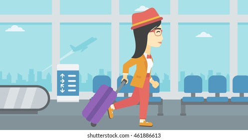 An asian young woman with a suitcase walking at the airport. Vector flat design illustration. Horizontal  layout.