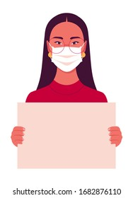 Asian young woman wears medical mask holds in her hands a poster without text on a white background. Coronavirus. Human rights. A student is protesting. Vector illustration in flat style