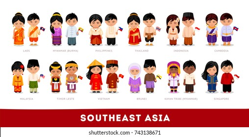 cdfd7a385 Asians in national clothes. Southeast Asia. Set of cartoon characters in traditional  costume.