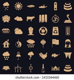 Asiatic icons set. Simple set of 36 asiatic vector icons for web for any design