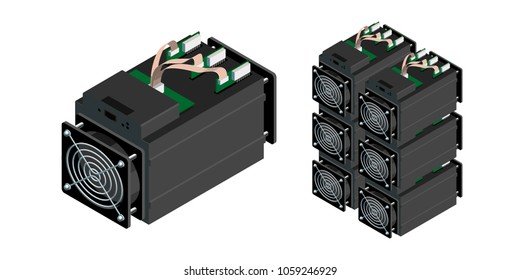 ASIC bitcoin miner and ASIC mining farm. Application Specific Integrated Circuit. Bitcoin mining. Cryptocurrency mining equipment and hardware. Antminer isometric view.