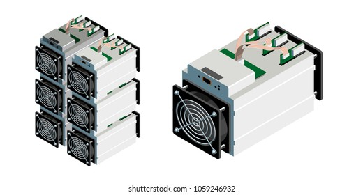 ASIC bitcoin miner and ASIC mining farm. Bitcoin mining. Application Specific Integrated Circuit. Antminer isometric view.Cryptocurrency mining equipment and hardware isolated on white.