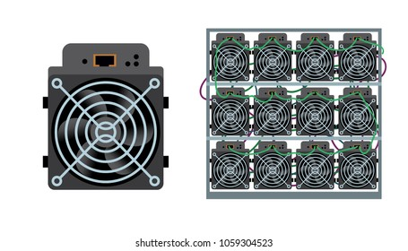 ASIC bitcoin miner and ASIC mining farm. Application Specific Integrated Circuit. Bitcoin mining. Cryptocurrency mining equipment and hardware flat vector illustration isolated on white.