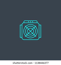 ASIC Miner concept blue line icon. Simple thin element on dark background. ASIC Miner concept outline symbol design from Cryptocurrency set. Can be used for web and mobile UI/UX