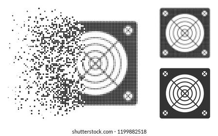 ASIC miner hardware icon in dissolved, dotted halftone and undamaged whole versions. Points are grouped into vector dissipated ASIC miner hardware icon.