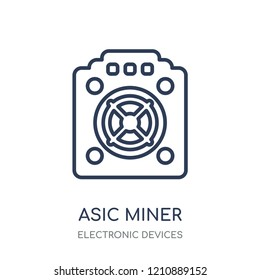 asic miner icon. asic miner linear symbol design from Electronic devices collection.