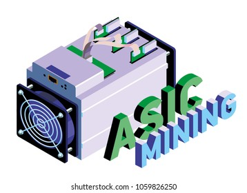 ASIC miner. ASIC mining vector illustration. Bitcoin mining. Application Specific Integrated Circuit. Antminer isometric view. Cryptocurrency mining equipment and hardware.