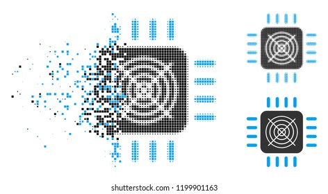 ASIC processor icon in disappearing, pixelated halftone and undamaged whole variants. Fragments are organized into vector disappearing ASIC processor icon.