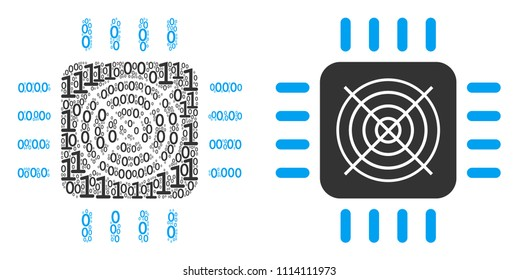 ASIC processor mosaic icon of one and zero digits in randomized sizes. Vector digital symbols are scattered into ASIC processor mosaic design concept.