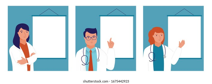 Ask the doctor. Doctors man and women, medical professional are standing infront an empty board. Simply add the text. Vecor illustration