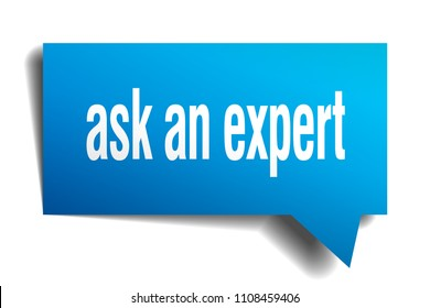 ask an expert blue 3d square isolated speech bubble