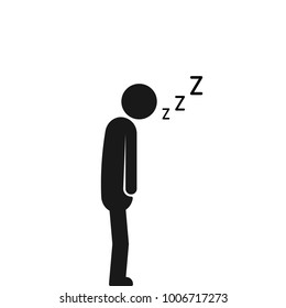 asleep on the move sleeping man. concept of dormant businessman sign or tired man in bed room or office. flat simple trend modern black logotype graphic art design illustration isolated on white