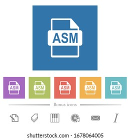 ASM file format flat white icons in square backgrounds. 6 bonus icons included.