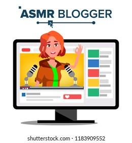 ASMR Blogger Channel Vector. Teen. Whisper. Online Live Broadcast. Isolated Illustration