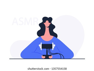 ASMR Blogger. Stylized Character. Vector Illustration