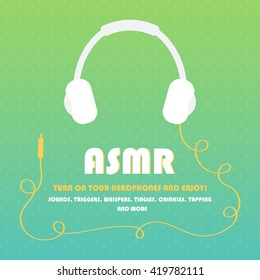 ASMR card with headphones on colorful polka dots background.