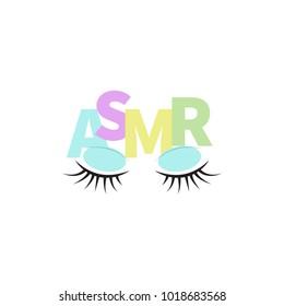 ASMR. Logo, icon eyes and word asmr. Vector illustration