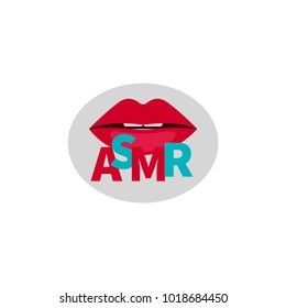 ASMR. Logo, icon lips and word asmr. Vector illustration