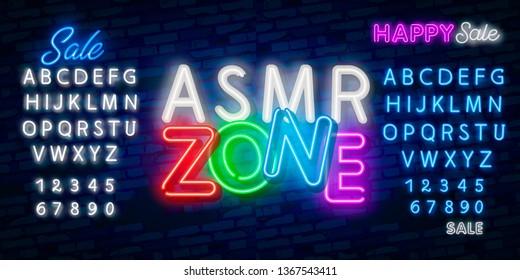 ASMR Neon Vector Text. Autonomous sensory meridian response neon sign, design template, modern trend design, night neon signboard, night bright advertising. Vector. Editing text neon sign