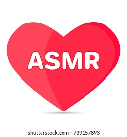 ASMR text on the red heart, isolated icon, vector illustration