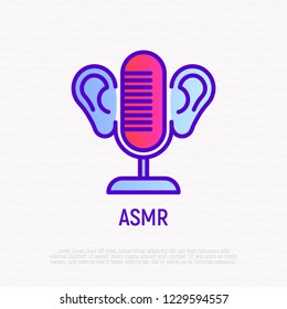 ASMR thin line icon: microphone and ears. Relaxation video with calming sounds. Modern vector illustration.