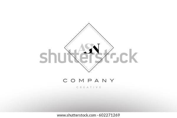 Asn S N Retro Vintage Simple Stock Vector (Royalty Free