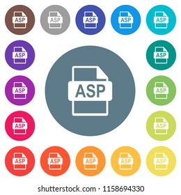 ASP file format flat white icons on round color backgrounds. 17 background color variations are included.