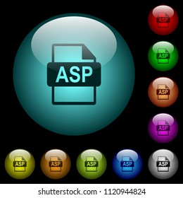 ASP file format icons in color illuminated spherical glass buttons on black background. Can be used to black or dark templates