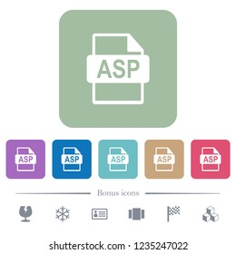 ASP file format white flat icons on color rounded square backgrounds. 6 bonus icons included